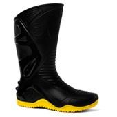 Bota de PVC Cano Longo Preta/Amarela Motosafe 84BPM600
