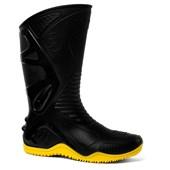 Bota de PVC Cano Longo Preta/Amarela Motosafe 84BPM600 BRACOL