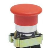 Botão de Impulsão Cogumelo Soco Metálico Vermelho 40mm Encaixe 22,5mm SLMFN1M4 STECK