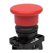 Botão de Impulsão Cogumelo Soco Plástico Vermelho 60mm Encaixe 22,5mm SLPFN1M6 STECK