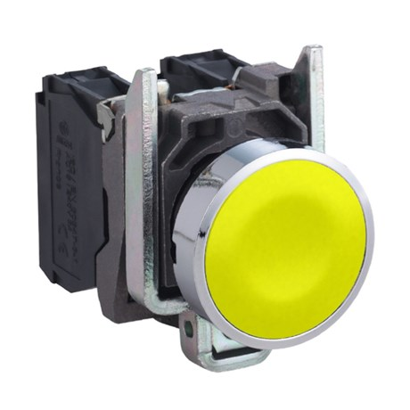 Botão de Impulsão Metálico Amarelo 22mm 1NA XB4BA51 SCHNEIDER