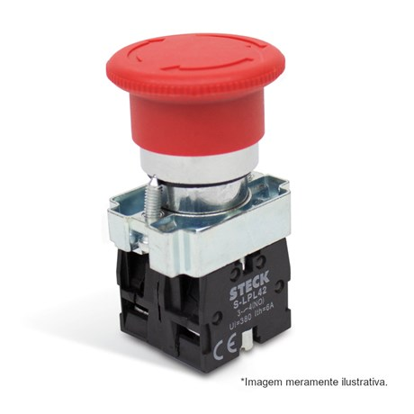 Botão de Retenção Cogumelo Soco Metálico Vermelho 40mm Encaixe 22,5mm SLMFN1R4 STECK