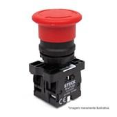 Botão de Retenção Cogumelo Soco Plástico Vermelho 40mm Encaixe 22,5mm SLPFN1R4 STECK