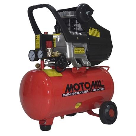 Compressor de Ar 7,4 Pés 24Lts 120Lbs Monofásico MAM-7,4/24
