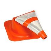 Cone de Sinalização Refletivo Flexível Laranja e Branco 75cm 700.00652 PLASTCOR