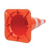 Cone de Sinalização Refletivo Laranja e Branco 75cm 700.00018 PLASTCOR
