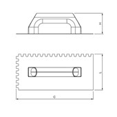 Desempenadeira de Aço Dentada Cabo Plástico 10x10 mm 60960 CORTAG