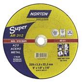 "Disco de Corte para Ferro 9"" x 1/8"" x 7/8"" 2 Telas AR 312 NORTON"
