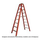 Escada de Fibra de Vidro Tesoura 14 Degraus 4.35m TF-14 COGUMELO