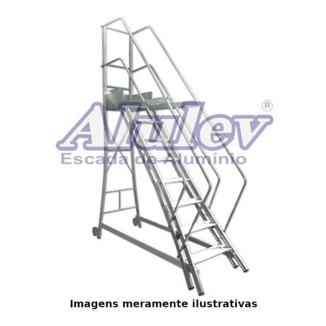 Escada Trepadeira de Alumínio 11 Degraus com Corrimão TR 272 ALULEV
