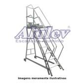 Escada Trepadeira de Alumínio 6 Degraus com Corrimão TR 162 ALULEV