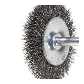 """Escova de Aço Carbono Rotativa Circular Ondulada com Haste 3"""" 04037 INEBRAS"""