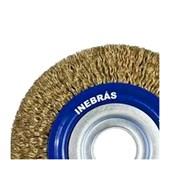 "Escova de Aço Latonado Rotativa Circular Ondulada 4"" 06652 INEBRAS"