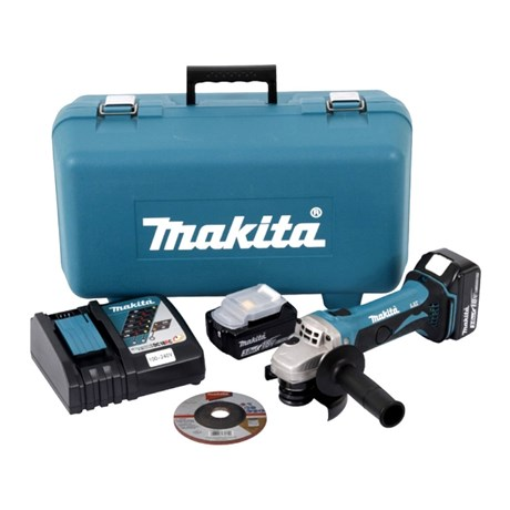 """Esmerilhadeira Angular 4.1/2"""" 2 Baterias 18V com Maleta 110/220V DGA452RFE MAKITA"""
