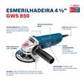 """Esmerilhadeira Angular 4.1/2"""" 850W com 3 Discos GWS850 BOSCH"""