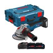 """Esmerilhadeira Angular 5"""" com 2 Baterias 18V PROCORE e Maleta L-BOXX GWS 18V-10 PC BOSCH"""