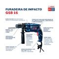 Furadeira de Impacto GSB16RE 1/2'' 750W 220V com Maleta + Kit Brocas 15 Peças X-LINE BOSCH
