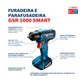 Furadeira/Parafusadeira 1/4'' 12V 110/220V com Bateria e Carregador + Maleta e Kit com 10 Bits GSR 1000 SMART BOSCH