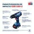 "Furadeira/Parafusadeira de Impacto 1/2"" 18V Bivolt GSB180LI BOSCH"