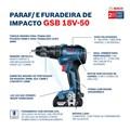 """Furadeira/ Parafusadeira de Impacto 1/2"""" 2 Baterias 18V com Maleta Bivolt GSB 18V-50 BOSCH"""