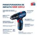 "Furadeira/ Parafusadeira de Impacto 3/8"" 12V Bivolt GSB 120-LI BOSCH"