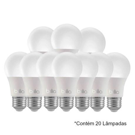 Kit 20 Lâmpadas LED Bulbo 8W E27 6.500K Bivolt 439012 BRILIA