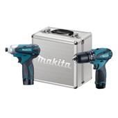 Kit Furadeira/ Parafusadeira e Parafusadeira de Impacto 12V Bivolt 2 Baterias DK1493 MAKITA