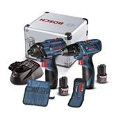 Kit Parafusadeira GSR 120 LI e Chave de Impacto GDR 120 LI 12v 110/220V 2 Baterias e Maleta de Alumínio 06019f00e4 Bosch