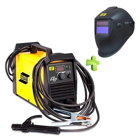 Máquina de Solda Inversora Lhn 240i Plus Mono 220V + Máscara de Solda com Sensor A20 Esab