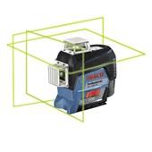 Nível a Laser com 3 Linhas Verdes 30 Metros e Receptor LR7 GLL3-80 CG BOSCH