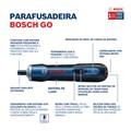 """Parafusadeira à Bateria de Lítio 1/4"""" 3.6V Bivolt com Maleta e Kit 33 Bits BOSCH GO"""