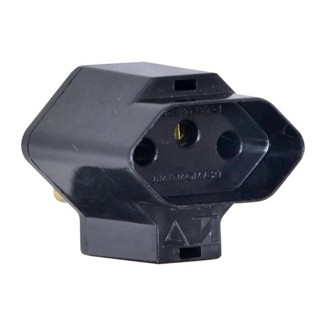 Plugue Adaptador Reverso 2P+T 15A 250V Preto 57400/193 TRAMONTINA ELETRIK