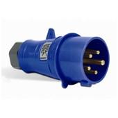 Plugue Industrial Macho Azul IP44 16A 2P+T 200/250 6H S3076-BRASIKON STECK