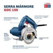 """Serra Mármore a seco 5"""" 1500W 2 Discos GDC 150 BOSCH"""