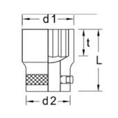 """Soquete Estriado 12 mm Encaixe 1/2"""" D19-12 GEDORE"""