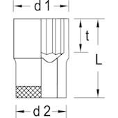 """Soquete Estriado 14 mm Encaixe 3/8"""" D30-14 GEDORE"""
