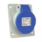 Tomada Industrial de Embutir com tampa Azul 2P+T 16A 250V IP44 N3046-NEWKON STECK